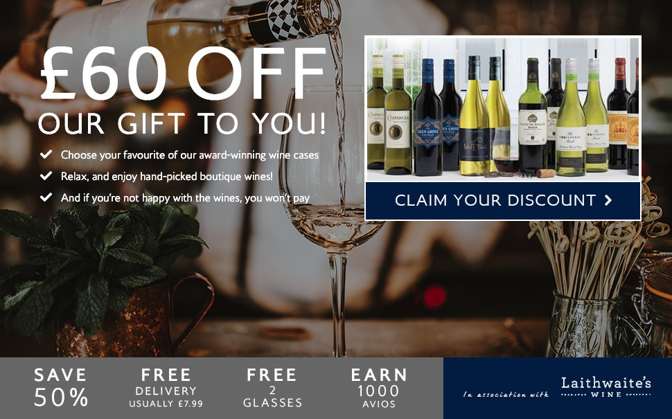£60 off. Our gift to you. Choose your favourite of our award-winning wine cases. Relax, and enjoy hand-picked boutique wines. And if you're not happy with the wines, you won't pay. Claim your discount. Save 50%. Free delivery usually £7.99. Free 2 glasses. Earn 1000 Avios. In association with Laithwaite's Wine.