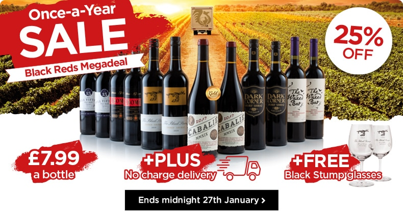 Once-a-Year SALE - Black Reds Megadeal - £7.99 +PLUS No charge delivery +FREE Black Stump glasses - Ends midnight 27th January>