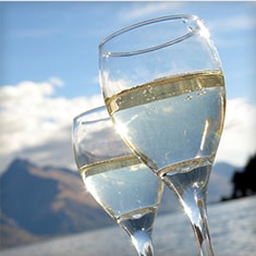 Two glasses of white wine glistening in the sun, with mountains in the background