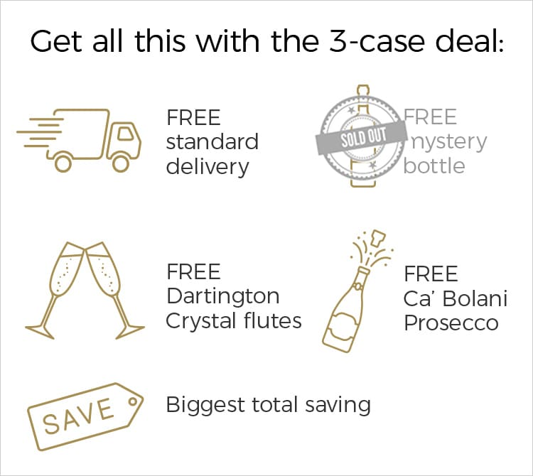 Get all this with the 3-case deal: FREE standard delivery + FREE Dartington Crystal flutes + FREE Ca' Bolani + BIGGEST total saving